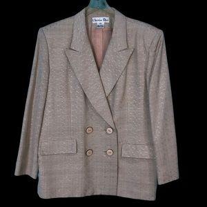 Vintage 80s Christian Dior Silk Blazer 18